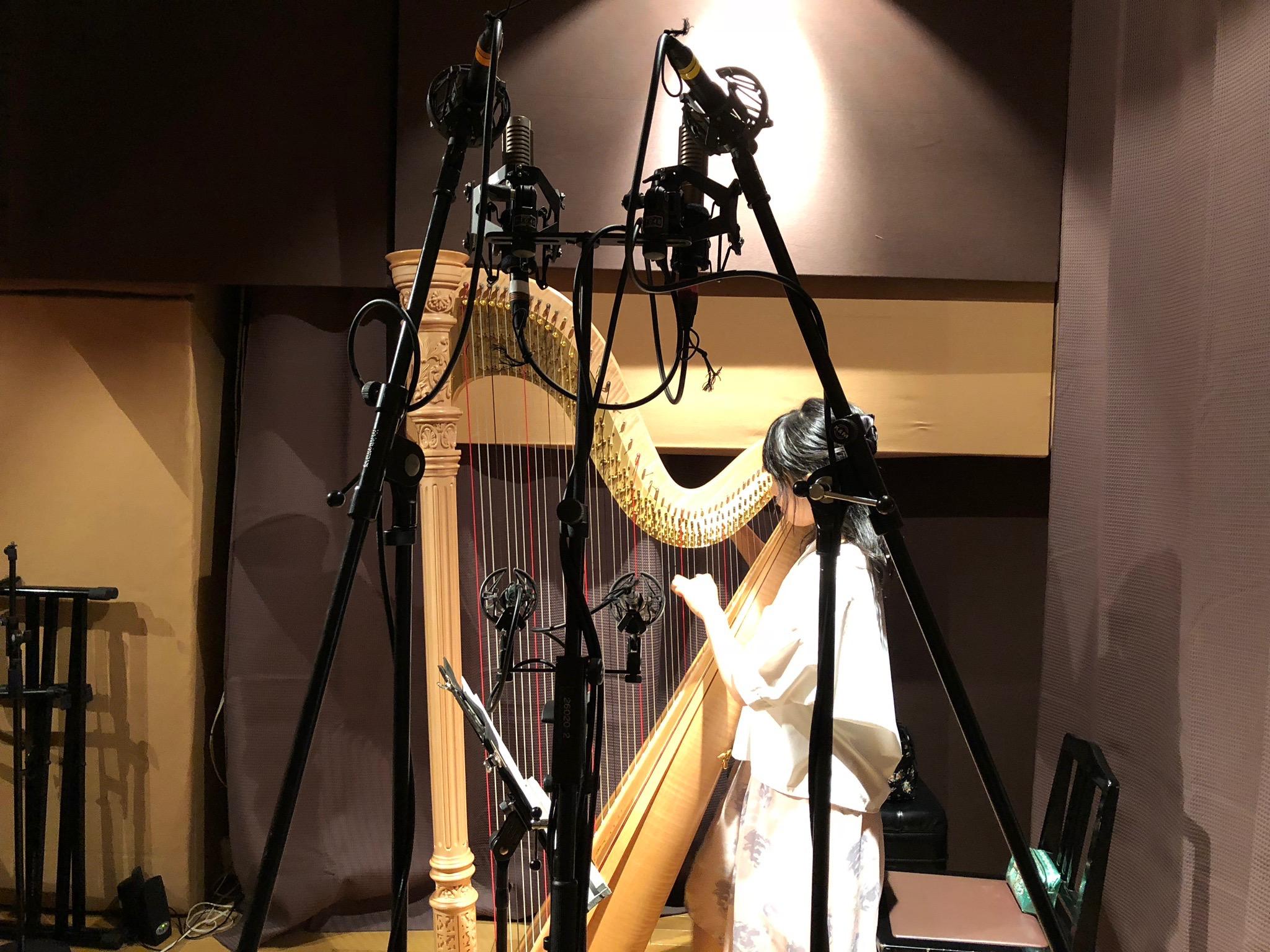 フルハウスにてハープのレコーディングをしているやまばたまいさん